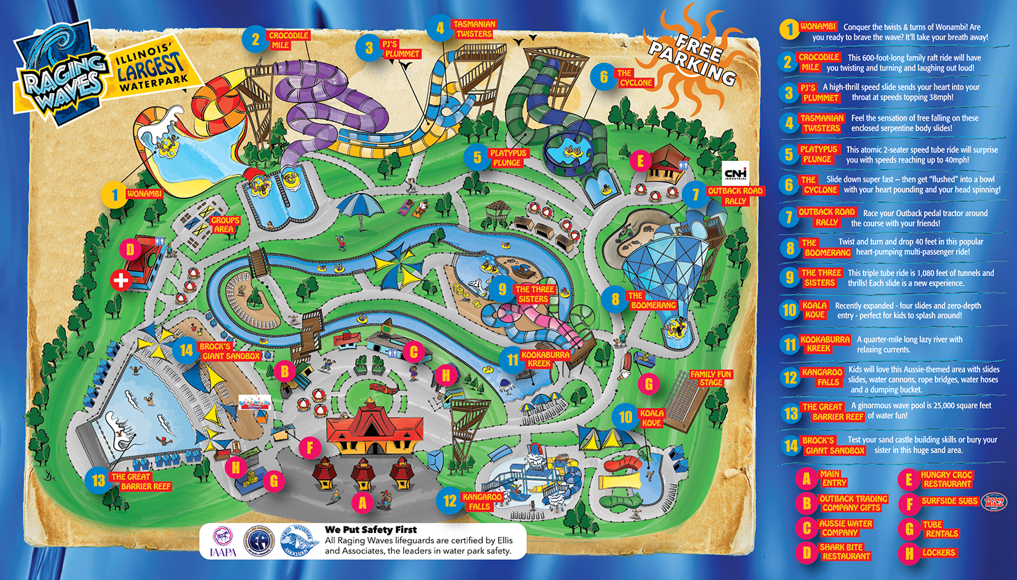 Raging Waves Park Map