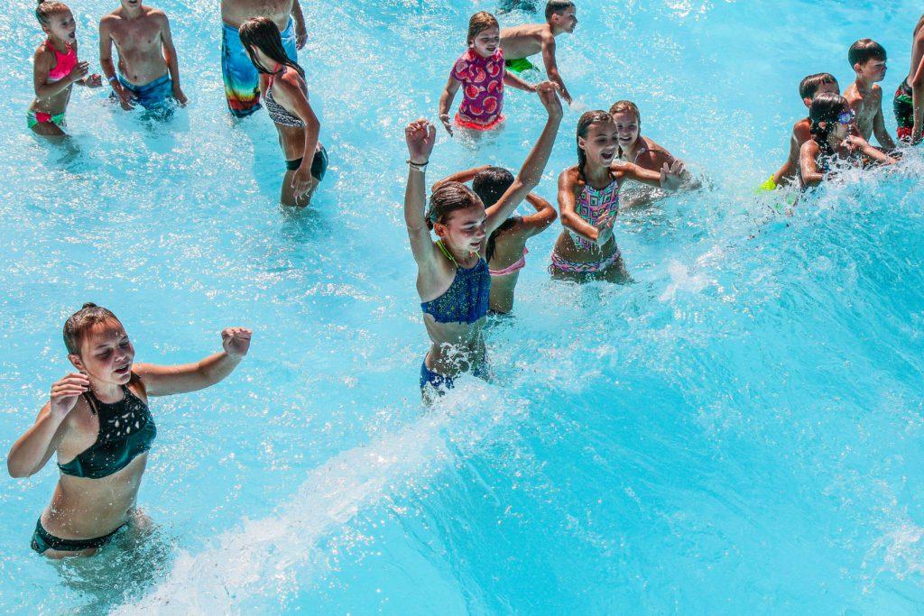 kids in wave pool